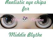 Middie Blythe New Soft Resin OOAK REALISTIC custom eye chips set D19 , by Ana Karina. UV laminated