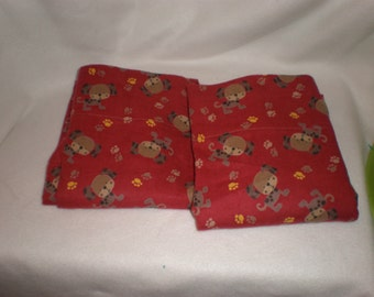 Puppy Dogs Pillowcase Set for Standard Size Bed Pillows Barn Red Flannel