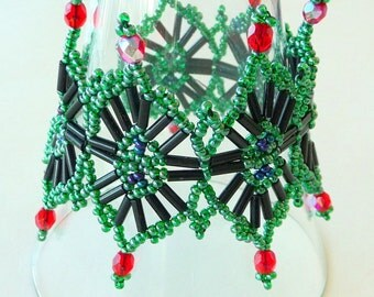 Cuff Bracelet - Ornate Beaded - Deco Style - Starburst - Black - Green Red Blue - Iridescent- Bugle Beads - UNIQUE - Christmas Gift