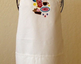 Apron, Baking apron, Kitchen, Housewarming, Embroidered White Apron, Mom's Diner- color options available. Cooking in the kitchen. KBD601