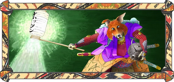 The Fox and His Kettle - by Victor Bosson, childrens iBook, illustration, Japanese, fox, art print