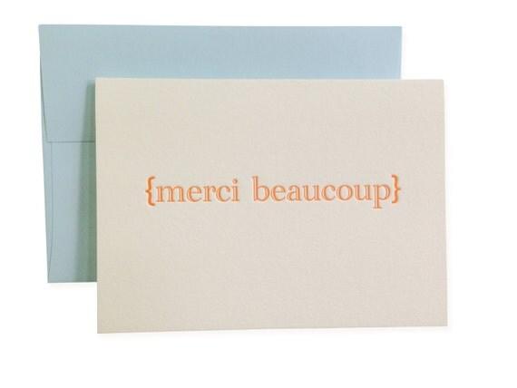 SALE Merci Beaucoup letterpress card - set of six