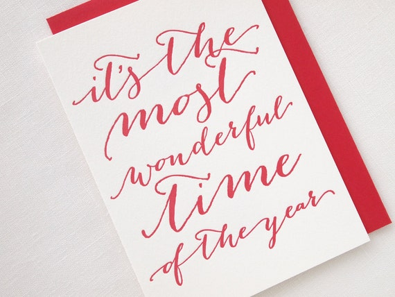 SALE Letterpress It's the Most Wonderful Time of the Year Holiday Card - Box of 6