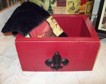 Shabby chic fleur de lis burgundy drawer box,organizer box,wedding box,Paris decor,French decor,Paris bedroom decor,Paris bathroom