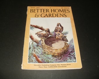 Vintage Better Homes and Gardens Magazine April 1932 - Leaving the Nest Cover Art, Scrapbooking, Old Ads