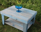 Rustic Coffee Table with Shelf, Blue Wash Finish, Reclaimed Wood, Unfinished - Handmade