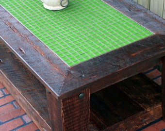 "Caster Coffee Table, Mosaic Tile Centerpiece, ""Green Rain"", Rustic Contemporary, Dark Brown Finish  - Handmade"