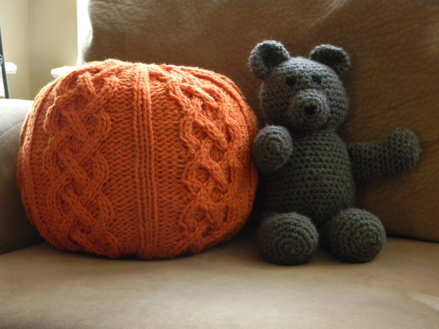 Chunky Cable knit Pouf Pattern Only permission to sell