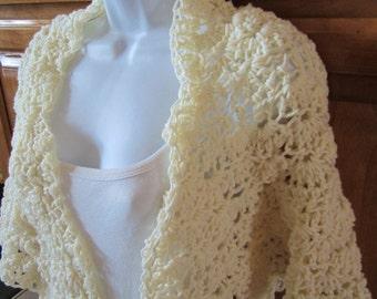 Crocheted Off White Shawl, Ivory Wrap, Cream Shawl