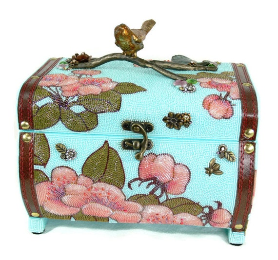 Cherry Blossoms Jewelry Box Beaded Trinket Keepsake Storage READY TO SHIP