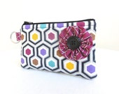 Colorful Geometric Hexagon Flower Zippered Bag / Coin Purse / ID Case / Gadget Pouch with Split Ring - Ready to Ship