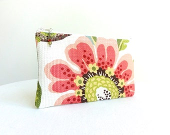 Big Flower Zippered Bag in Coral, Brown & Green / Beaded Pull - READY TO SHIP