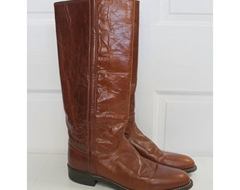 Vintage JUSTIN leather Riding BOOTS 9