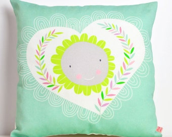 decorative throw pillow for kids room with happy heart and flower in mint - 12 inch / 30 cm