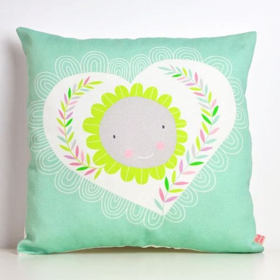 decorative throw pillow for kids room with happy heart and