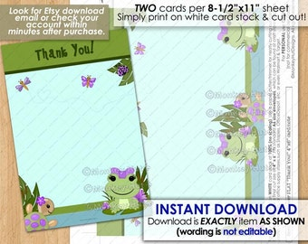 """Girl Hippity Frog Baby Shower Printable FLAT 4""""x6"""" Thank You card note / frogs turtles pond girls purple pdf #0029b / INSTANT DOWNLOAD"""