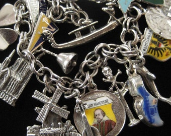 Sterling Silver Charm Bracelet, LOADED with 16 Sterling Silver TRAVEL Charms