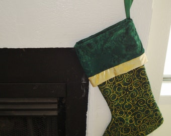 Quilted Christmas Stocking in Green and Gold