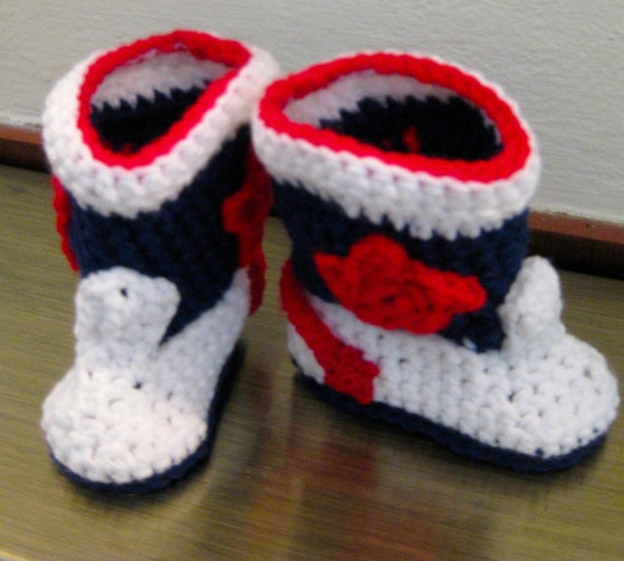 Cowboy Boot Booties, Patriotic, Red, White & Blue, Handmade
