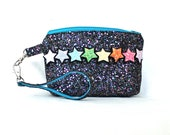 Statement Rainbow Stars Clutch Bag with Wrist Strap - Made in England