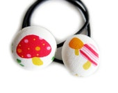Button Ponytail Holders - Red and Pink Mushrooms