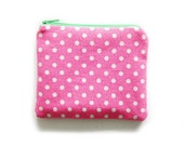 Zipper Pouch - Dots and Stripes in Bright Pink - Available in Small / Large / Long