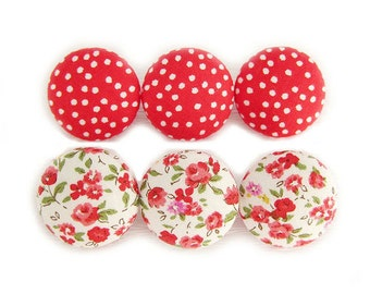 Fabric Covered Buttons - Red Floral and Polka Dots - 6 Medium Fabric Buttons