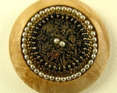 Hand Turned Wood and Beaded Brooch