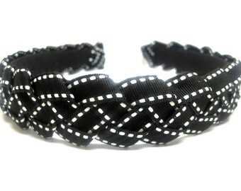 Black & White Braided Ribbon Headband 3/4 Inch
