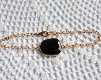 OOAK Onyx Bezel Set Stone Bracelet on Gold Vermeil Chain