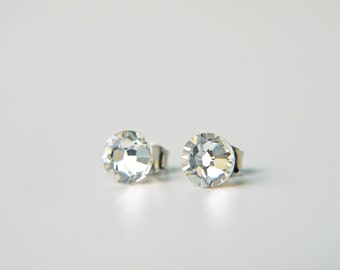 Simple Swarovski Crystal Titanium Earrings Sparkly Clear Crystal Dainty Everyday Earrings