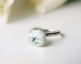 Light Blue Swarovski Silver Ring Crystal Square Light Azore Clear Blue Adjustable Ring