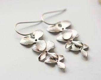 Silver Orchid Flower Titanium Wedding Earrings Matte Silver Bridesmaid Earrings Hypoallergenic