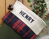 Balsam Personalized Christmas Stockings with Cabin Plaid Ribbon