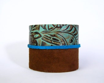 "SALE - clearance - leather cuff bracelet - floral tooled leather with brown suede - brown leather cuff - one size fits most - 2"" wide"