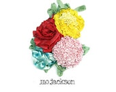 handmade flowers bouquet pin / corsage / brooch