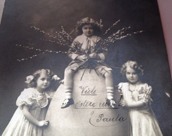 Antique black and white photo German postcard