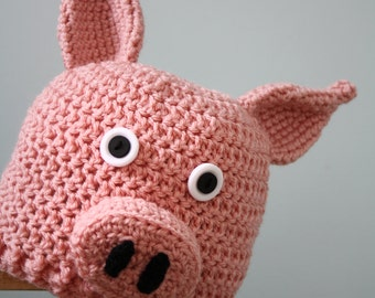 Little Piggy Hat, Pig Hat, Crochet Beanie, Animal Cap, Farm Animal Clothing, Halloween Costume, Winter Hat, Holiday Gift, Funny Hat