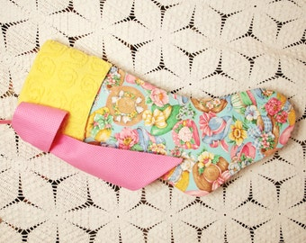 Bright and Cheerful Garden Hats and Flowers Vintage Fabric Stocking with Vintage Chenille Cuff
