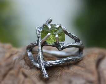 Rough peridot statement branch ring-raw gemstone-uncut natural twig sterling silver-statement-August birthstone-made to order