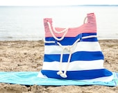 Amrum, nautical beach bag, tote bag, in red, white and navy blue. Cotton ropes handles. Sailor bag. Everyday purse
