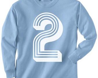 2nd Birthday T Shirt Long Sleeve----- ALL sizes-------- 2t, 3t, 4t, youth xs, yth sm, yth med, yth lg, yth xl skip n whistle