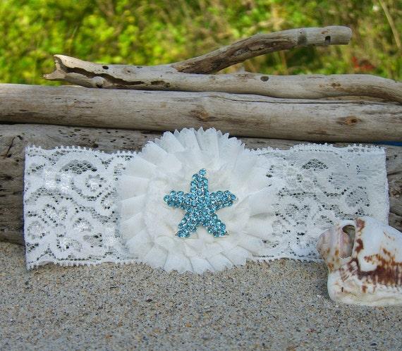Beach Wedding Garter: Starfish And Lace Bridal Garter-SPARKLE By Sandnsurfcreations