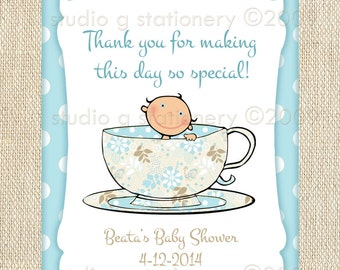 Baby Shower Gift Tags or Labels - A Baby's Brewing and Tea for Two - 24