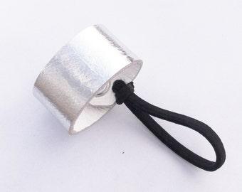 Metallic silver leather hair cuff, hair, accessory, hair elastic,hair wrap, leather, accessories,elastic,metallic hair accessorie