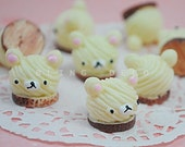 CRAZY DEAL - 4 Pieces 3D Cream Colour Bear Icing Cookie Biscuit Resin Pastry Cabochon, 15mm Kawaii Dessert Decoden