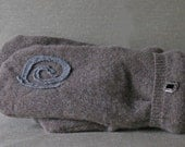 Cashmere Recycled Felted Mittens with Celtic Swirl