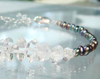 Herkimer Diamond Bracelet Peacock Pearls Double Terminated Quartz Crystal Bracelet Raw April Birthstone Magick, Metaphysical Gemstones LUXE