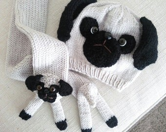 Pug Hat and Pug Scarf