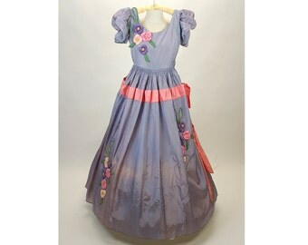 1940s gown, ball gown, southern belle dress, flower appliques, lavender pink, Size S Small